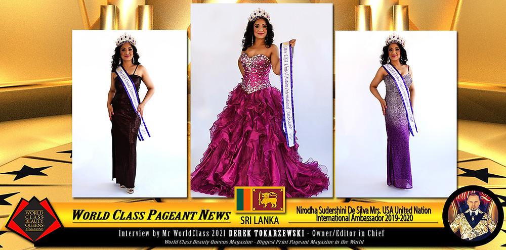 Nirodha Sudershini De Silva Mrs. USA United Nation International Ambassador 2019-2020, World Class Beauty Queens Magazine,