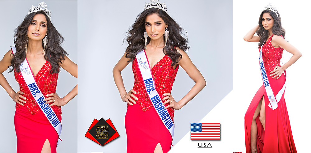 Dr. Neelam Chahlia Mrs. Washington America 2019, World Class Beauty Queens Magazine,