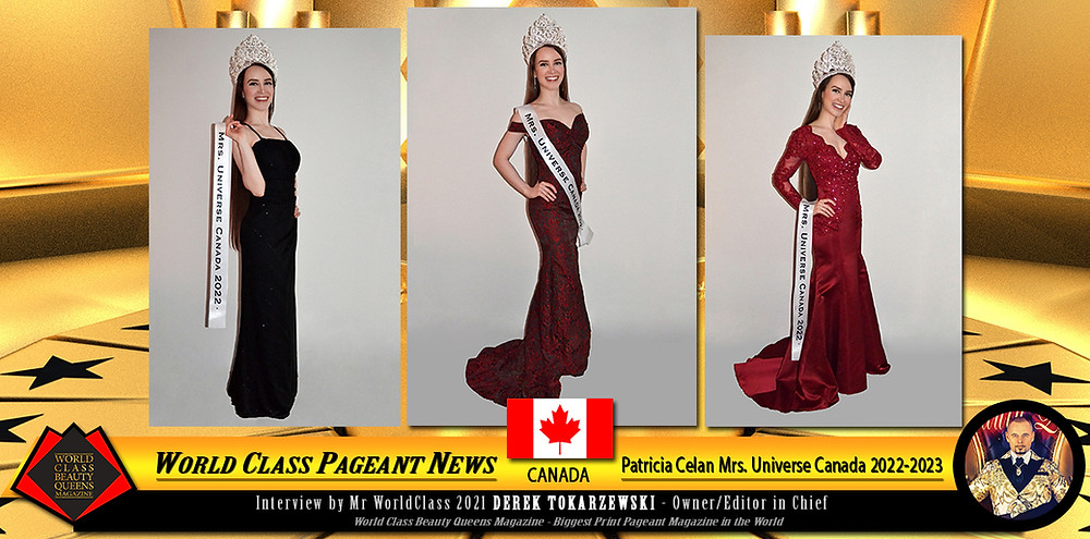 Patricia Celan Mrs. Universe Canada 2022-2023, World Class Beauty Queens Magazine,