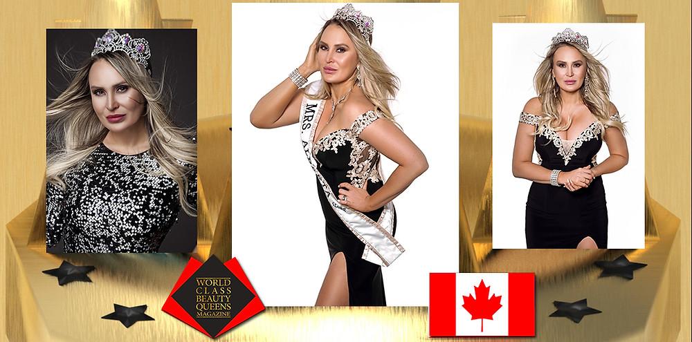 Monica Paris Rajchel Fryers Mrs Canada Globe 2019, World Class Beauty Queens Magazine,
