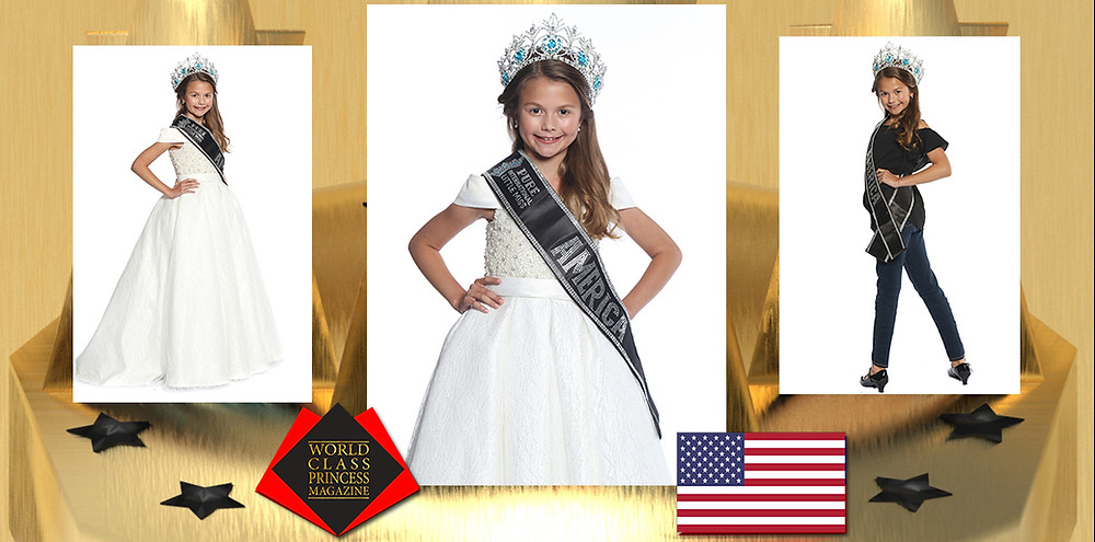 Elyse Hofer 2019-2020 Pure International Little Miss America, World Class Princess Magazine,