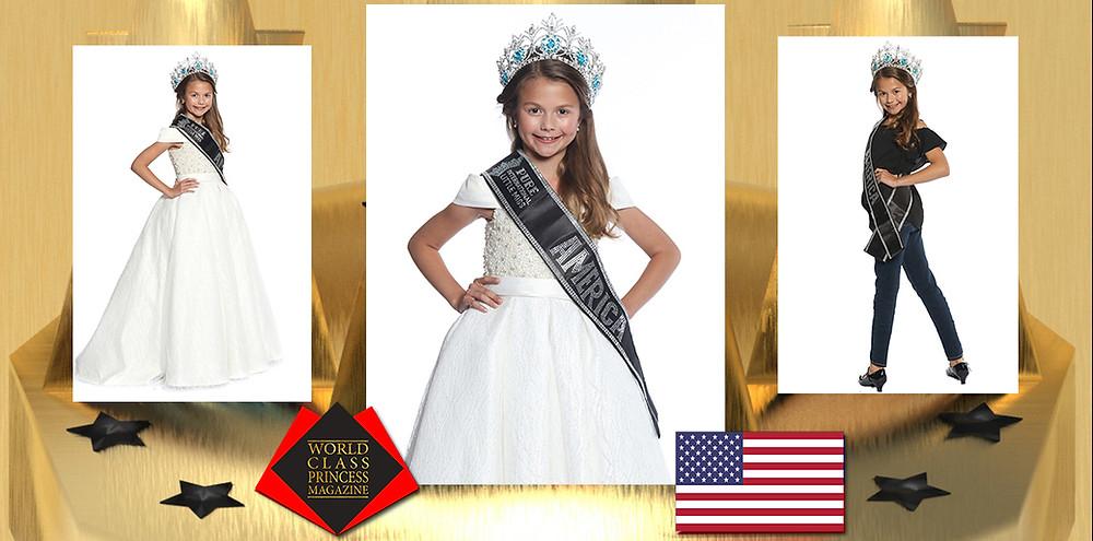 Elyse Hofer 2019-2020 Pure International Little Miss America, World Class Princess Magazine,