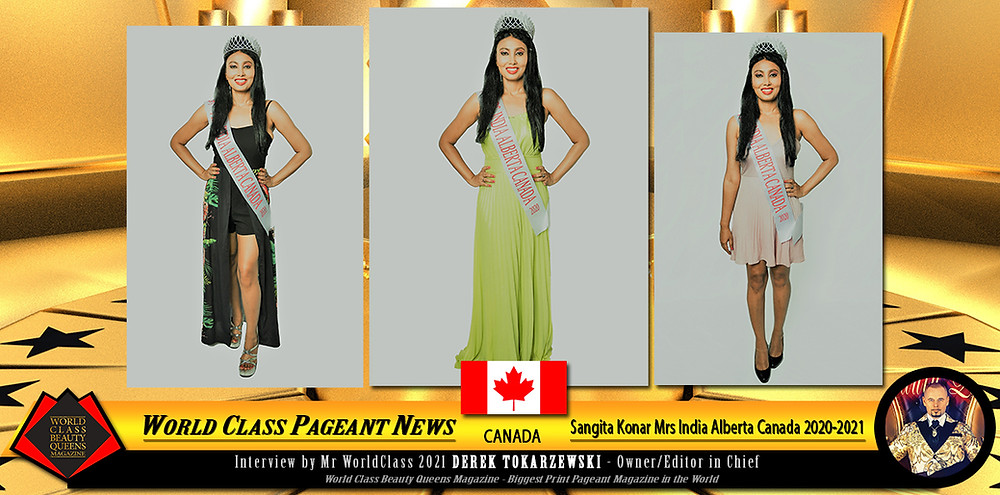 Sangita Konar Mrs India Alberta Canada 2020-2021, World Class Beauty Queens Magazine, Makeup Artist : Simran Sekhon, Photographer : Brenna Varga, Innovate Media