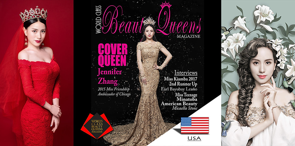 Jennifer Zhang 2015 Miss Friendship Ambassador of Chicago, World Class Beauty Queens Magazine,