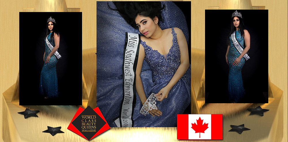 Loveleen Kaur Sidhu Miss. SouthWest Edmonton World 2019, World Class Beauty Queens Magazine,