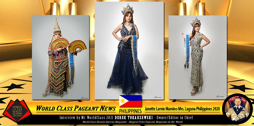 Janette Larnie Mamino Mrs. Laguna Philippines 2020, World Class Beauty Queens Magazine, Photo by Ram Alcantara Photography and Videography, Doksola and Hitomi Creations for my Hair and Make-up, Millan Family for my Gowns