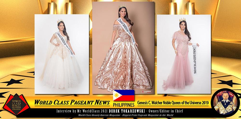 Genesis C. Walcher Noble Queen of the Universe 2019, World Class Beauty Queens Magazine,