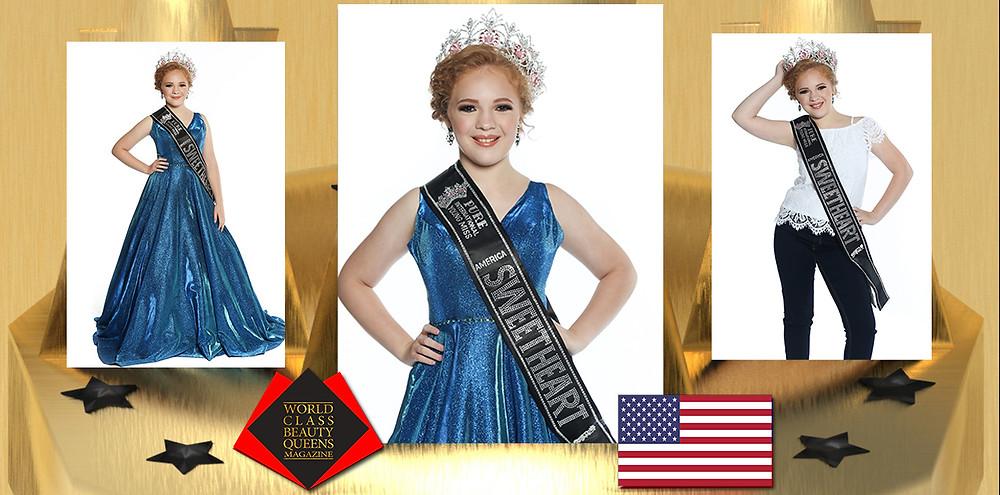 Amelia Kramer Pure International Young Miss America Sweetheart 2019, World Class Beauty Queens Magazine, Photo by Elizabeth Clary Photoraphy