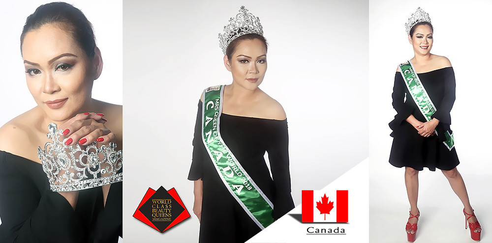 Florence Haro Mrs. Queen of the World Canada 2018, World Class Beauty Queens Magazine,