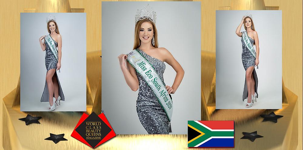 Gizzelle Mandy Uys Miss Eco International South Africa 2020, World Class Beauty Queens Magazine,