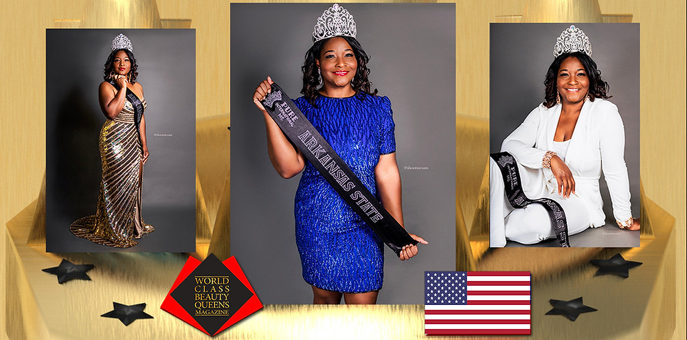 Arteja Stamps Pure International Ms. Arkansas State, World Class Beauty Queens Magazine, Photo by Sam Fisher, Wardrobe Manager Jason Stamps