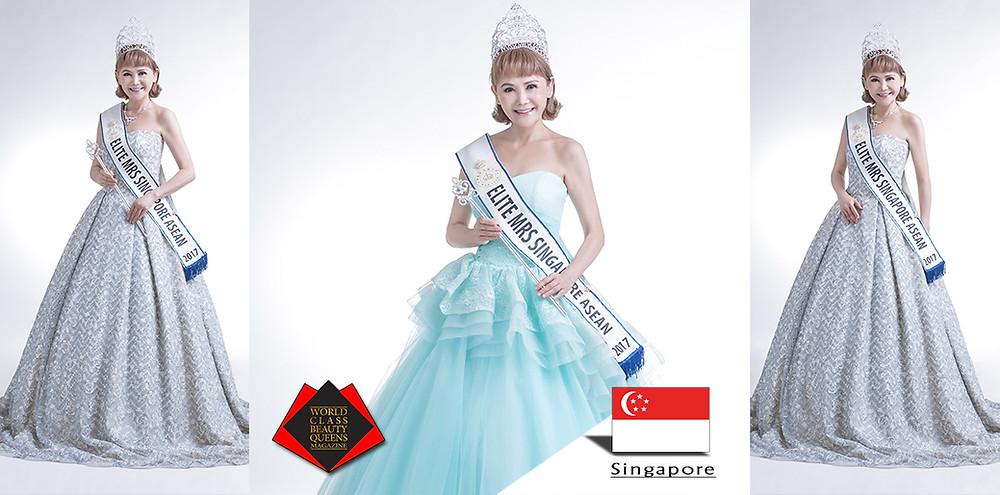 Erica Ho Chiet 2017 Mrs Elite Singapore Asean, World Class Beauty Queens Magazine,