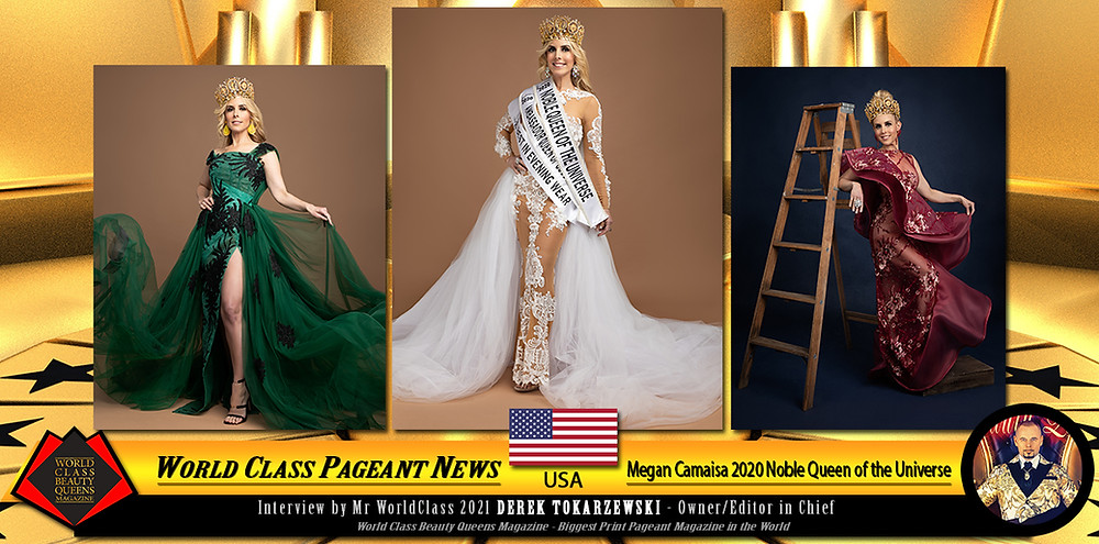 Megan Camaisa 2020 Noble Queen of the Universe, World Class Beauty Queens Magazine,