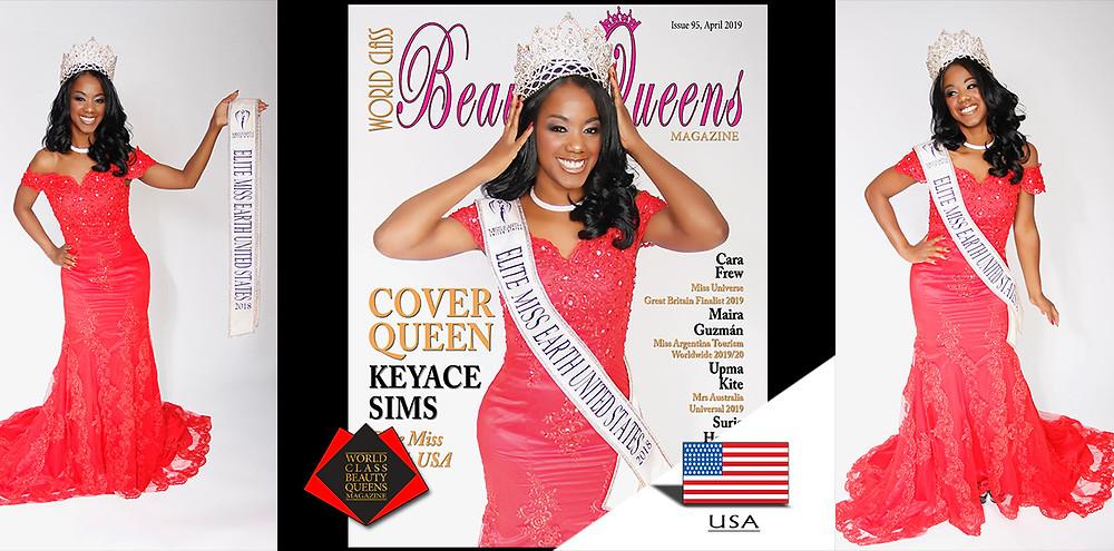 Keyace Sims Elite Miss Earth USA 2018, World Class Beauty Queens Magazine,