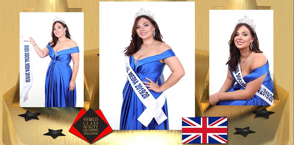 Danielle Evans Miss Social Media GB 2019/2020, World Class Beauty Queens Magazine,