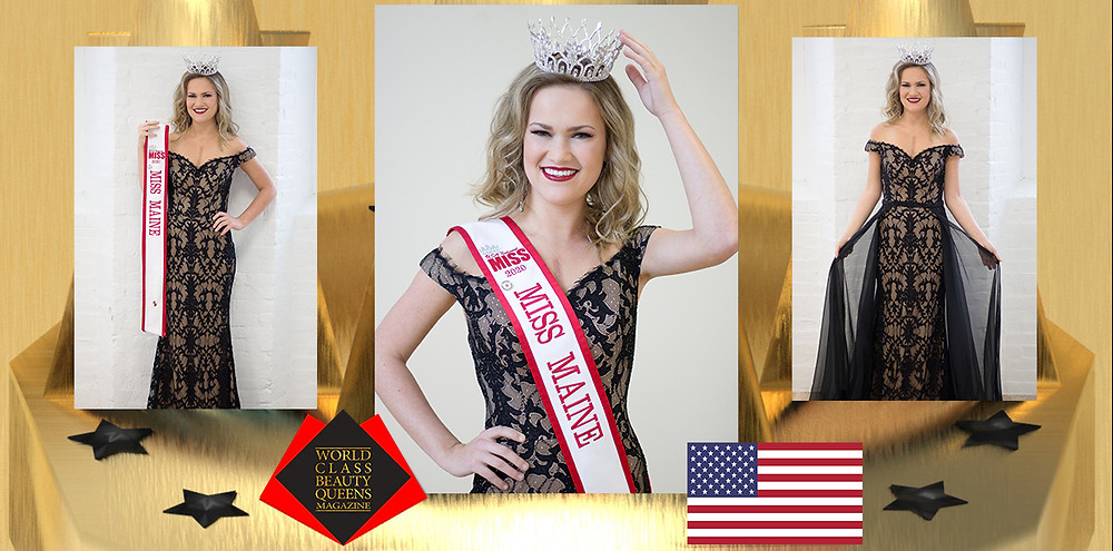 Faith Brackett USA National Miss Maine 2020, World Class Beauty Queens Magazine, Mandy McQueen Photography. Makeup Flawless Babe, Stephanie Lyman and gowns by Blush Bridal and Formal.
