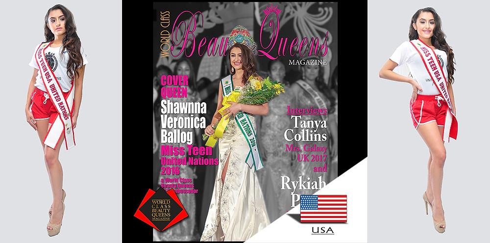 Shawnna Veronica Ballog Miss Teen United Nations 2016, World Class Beauty Queens Magazine,