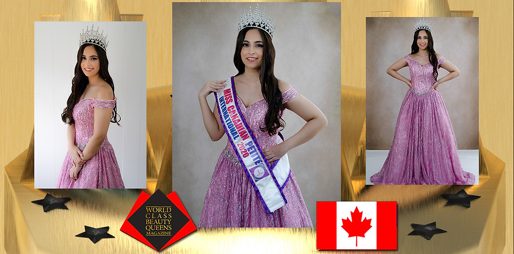 Vanya Shastri Miss Canadian Petite International 2020, World Class Beauty Queens Magazine, Photography by beyond the lens photography and Makeup and hair by Henrietta Murzsa