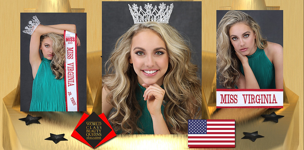 Addison Williams USA National Miss Virginia Junior Teen 2020, World Class Beauty Queens Magazine,