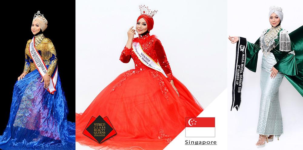 Hasliza Hashim Mrs Singapore Beauty Queen 2019, World Class Beauty Queens Magazine,