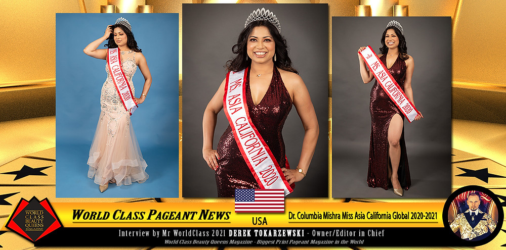 Dr. Columbia Mishra Miss Asia California Global 2020-2021, World Class Beauty Queens Magazine