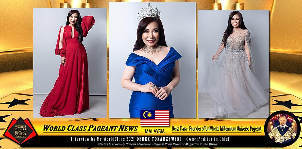 Reiss Tiara -Founder of UniWorld, Millennium Universe Pageant and Millennium World Excellence Award, World Class Beauty Queens Magazine,