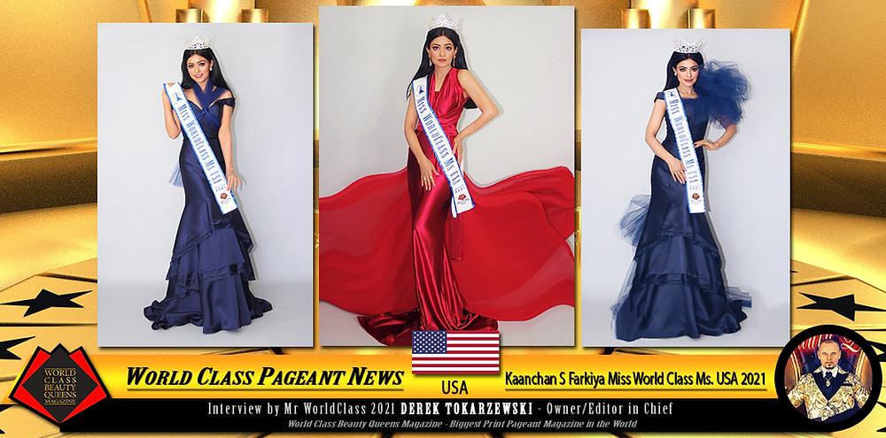 Kaanchan S Farkiya Miss WorldClass Ms. USA 2021, World Class Beauty Queens Magazine
