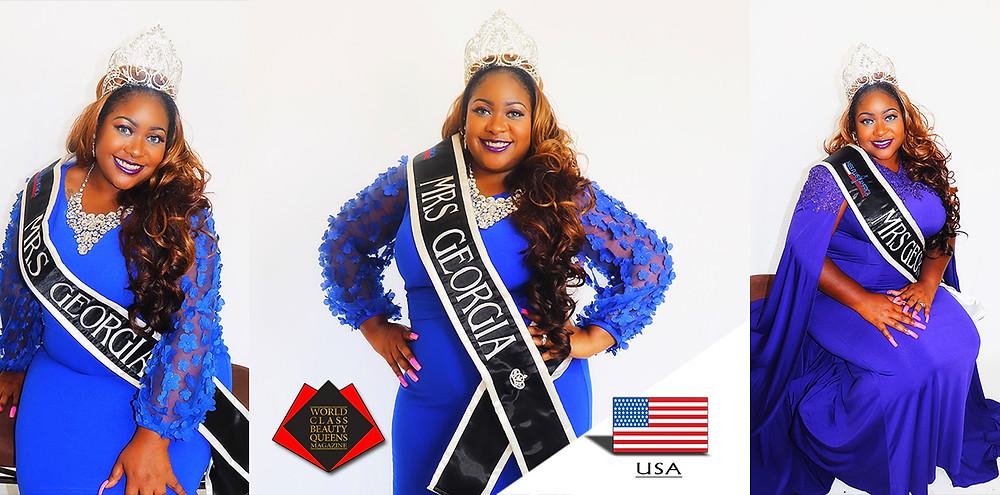 Jessica Louise Wilson-Cole Mrs. Georgia Plus America 2019, World Class Beauty Queens Magazine,
