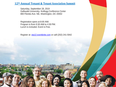 TIME FOR ACTION! Tenant Summit 2019, Sept. 28th
