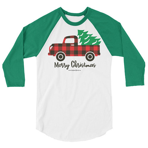 Red Truck Christmas 3/4 sleeve shirt