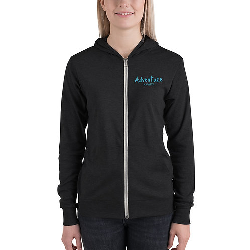 adventure awaits zip hoodie