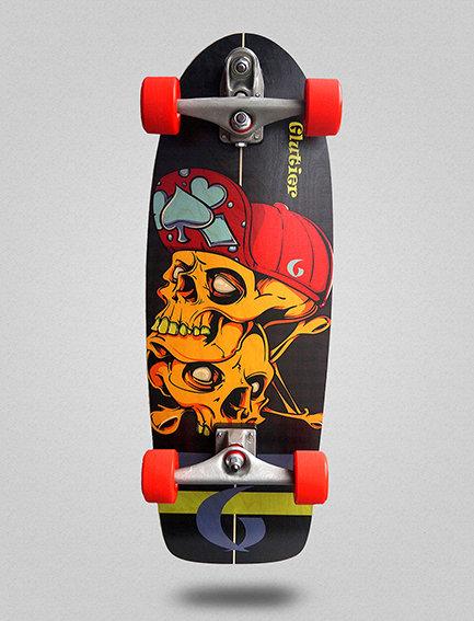 Glutier surfskate : Hip skulls 30,5