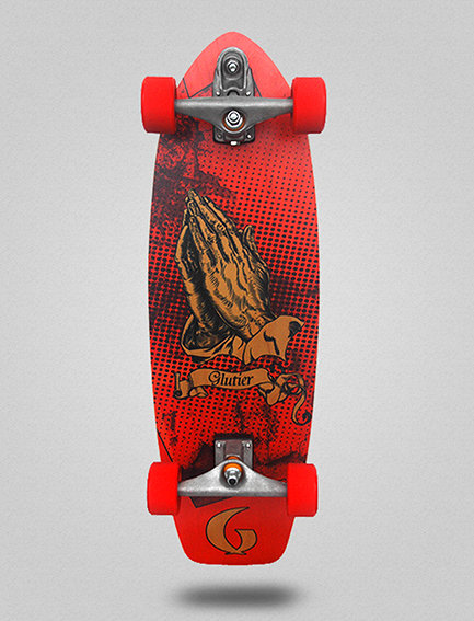 Glutier surfskate : Miracle red 31