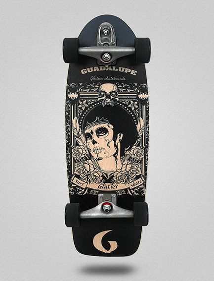 Glutier surfskate : Guadalupe black 30.5
