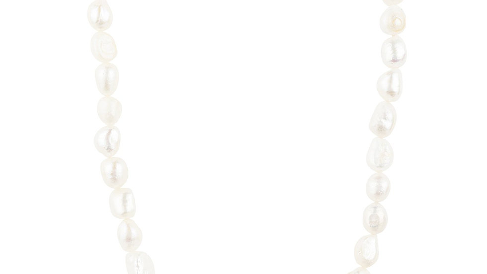 Flower Pearl Gemstone Long Necklace White CZ Silver