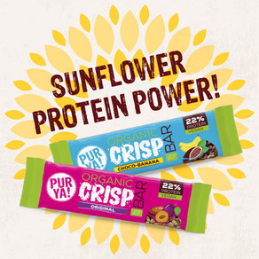 PURYA! Organic Crisp Bar – der erste Proteinriegel mit crunchy Protein-Crisps aus Sonnenblumenkernen