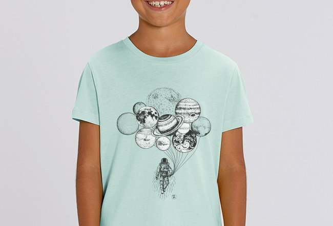 Jungen T-Shirt - Astronaut mit Planeten