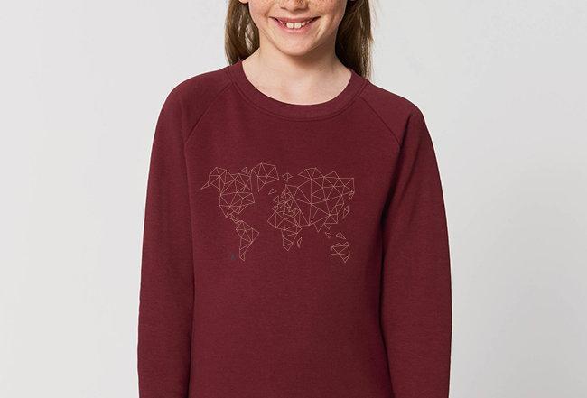 Mädchen Sweatshirt- Worldmap