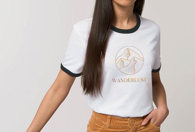 Damen Bicolor T-Shirt - Wanderlust
