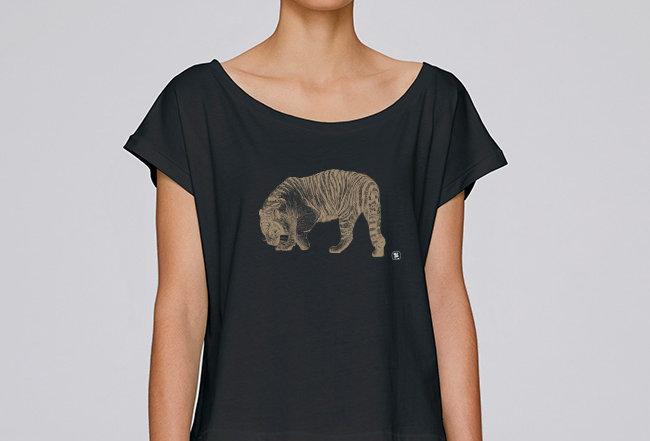 Oversize T-Shirt  - golden Tiger