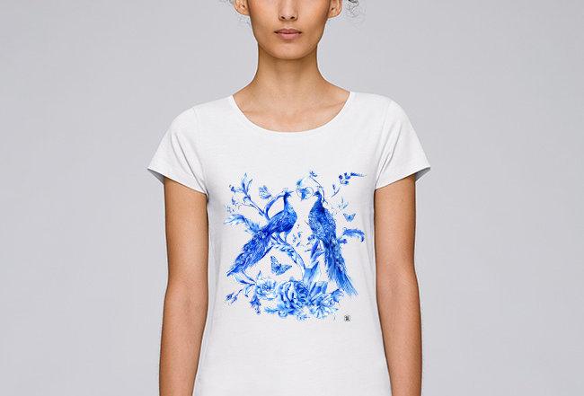 Händler Damen Basic T-Shirt - blue delfts
