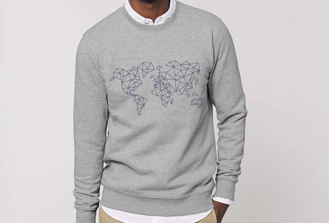 Basic Sweatshirt - Blue Worldmap