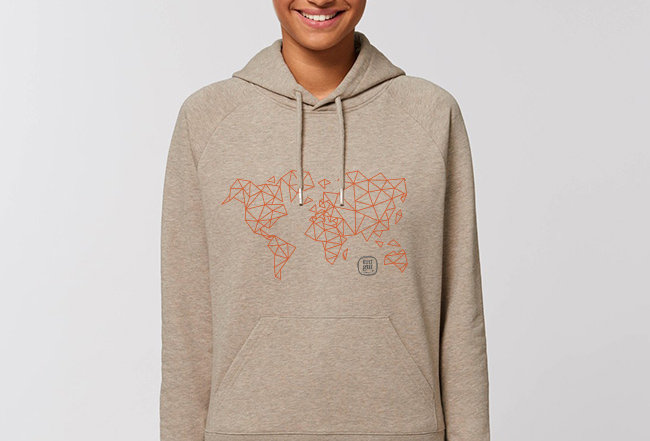 Damen Basic Hoodie -  Orange Worldmap