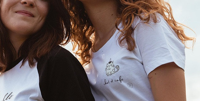 Basic T-Shirt - Reine Biobaumwolle - chat et cafe
