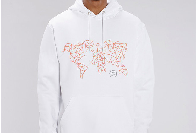 Unisex Hoodie- Worldmap Orange