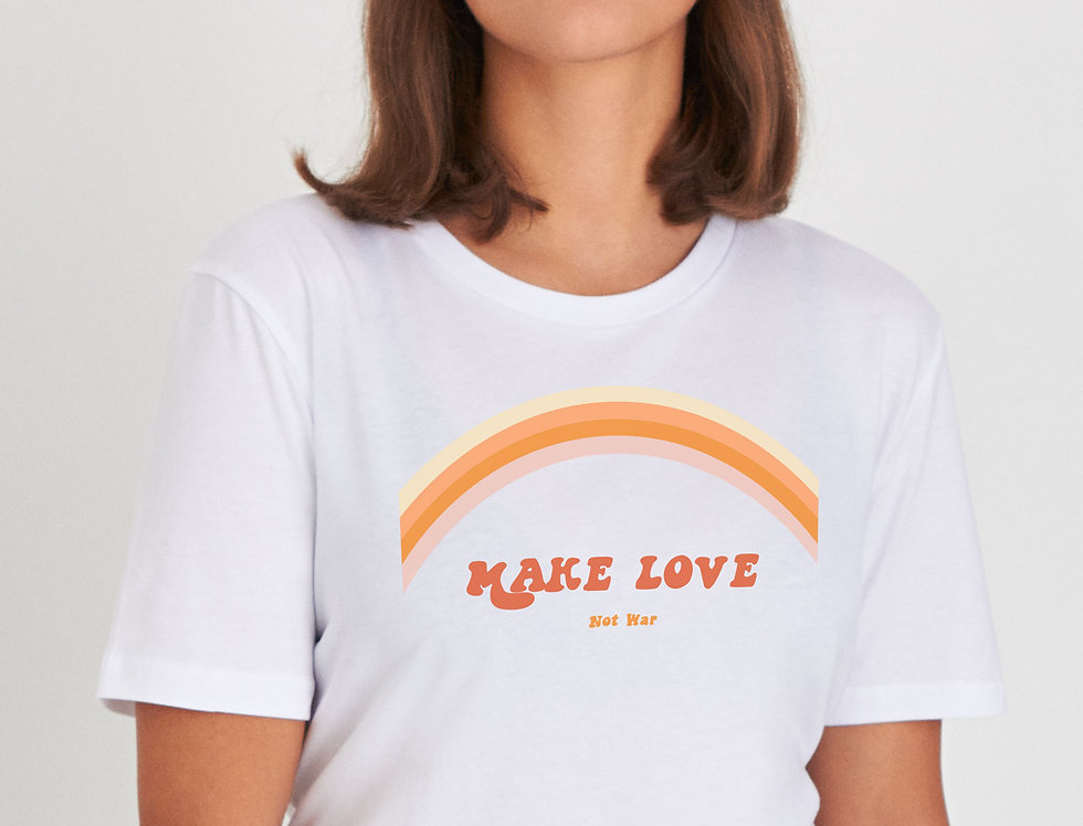 Kultgut Reine weiche Bio-Baumwolle - Oversize Shirt / MAKE LOVE - not war