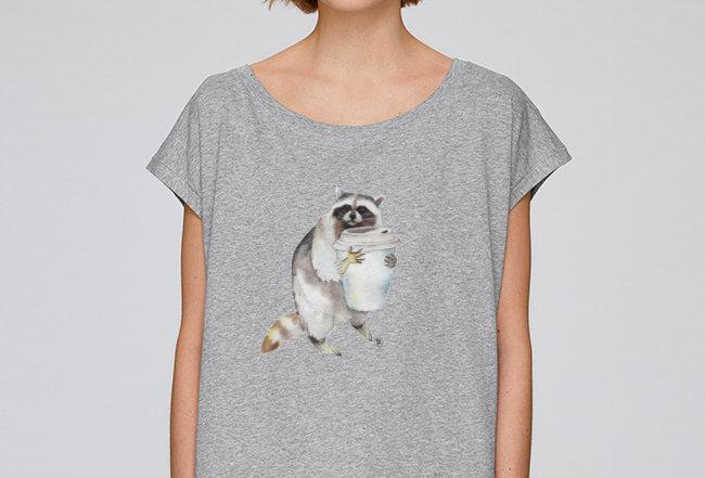 Oversize T-Shirt  - Waschbär