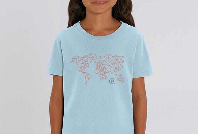 Mädchen T-Shirt- Worldmap Orange