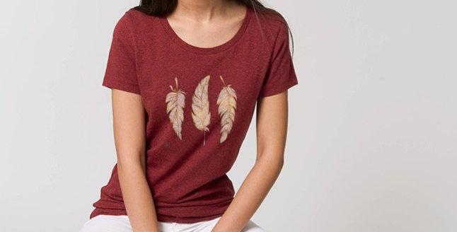 Basic T-Shirt - Reine Biobaumwolle - Glücksfedern