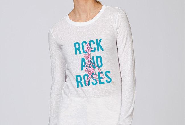 Langarmshirt- Rock and Roses